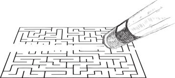 Eraser erases the image of the labyrinth Stock Images