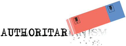 Eraser erases the word authoritarianism. Negative human trait - authoritarianism. Eraser erases the word Royalty Free Stock Images