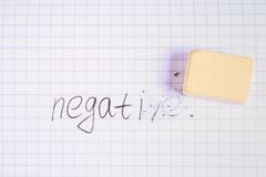 Eraser erasing on the sheet in the cage word: negative. Eraser erasing on the sheet in the cage word: negative Stock Photo