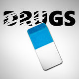 Eraser erasing the word DRUGS stock photo