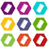 Eraser icon set color hexahedron. Eraser icon set many color hexahedron isolated on white vector illustration Stock Image