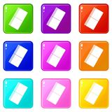 Eraser icons 9 set Royalty Free Stock Photo