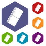 Eraser icons set hexagon Stock Images