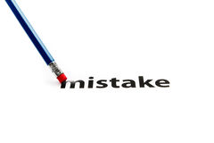 Eraser and a mistake concept Stock Images