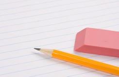 Eraser and pencil royalty free stock photos