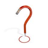 Eraser pencil bend into question mark. 3d render Vector Illustration