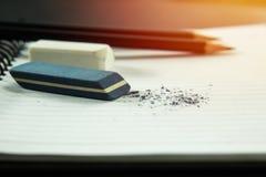 Eraser and black pencil Royalty Free Stock Photos