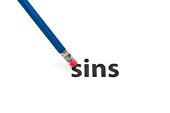 Eraser and SINS concept. A pencil with eraser is deleting SINS. Eraser and SINS concept. To erase SINS Royalty Free Stock Photography