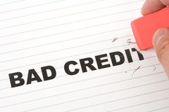 Eraser and word bad credit. Concept of making change royalty free stock photography