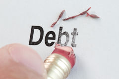 Eraser and word debt Royalty Free Stock Photos