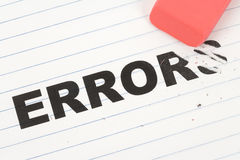 Eraser and word error Royalty Free Stock Photography