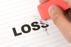 Eraser and word loss. Concept of Reduce financial loss Stock Photography
