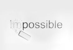 Eraser and words Impossible and possible. Words Impossible and possible, concept of Making Changing Royalty Free Stock Photo