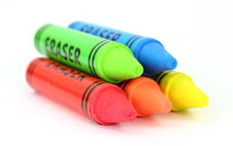 Erasers. Five colorful erasers on a white background Royalty Free Stock Photos
