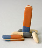 Erasers. Colored rubber erasers on a gray background Stock Photos