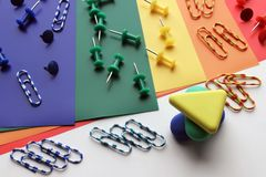 Erasers and paper clips royalty free stock photos