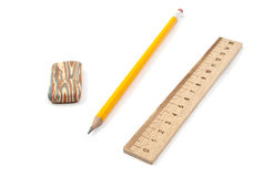 Erasers, pencil, ruler Royalty Free Stock Photos