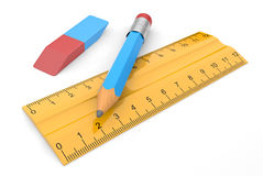 Erasers, pencil and ruler Royalty Free Stock Photo