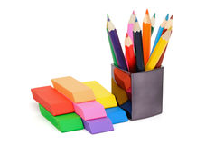 Erasers and pencils Royalty Free Stock Image