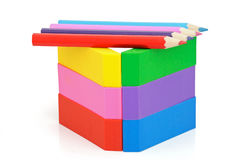 Erasers and pencils Stock Image