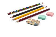 Erasers, Pencils Royalty Free Stock Photography