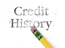 Erasing Credit History. Close up of a yellow pencil erasing the words, 'Credit History Royalty Free Stock Photography