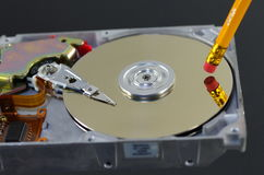 Erasing data. Symbolic erasing from disc data Stock Photos