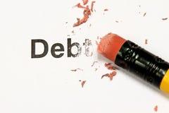 Erasing Debt. Eraser and word debt concept of Reduce Debt