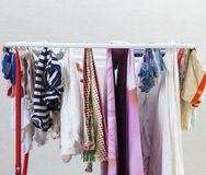 Erasing dries clothes and linen home Stock Photography