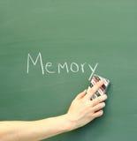 Erasing memories. Hand erases memory; fading memories, erasing bad memories, dementia, alzheimer, forgetfulness Royalty Free Stock Photos