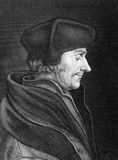 Erasmus. Desiderius Erasmus (1466-1536) on engraving from 1859. Dutch Renaissance humanist, Catholic priest, social critic, teacher and theologian. Engraved by C Stock Image