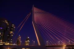 Erasmus Bridge bij Nacht Stock Afbeeldingen