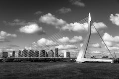 Erasmus Bridge in Black&White. The Erasmus bridge at Rotterdam in black&white stock photography