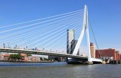 Erasmus Bridge (de Zwaan) in Nederlandse stad van Rotterdam Stock Foto's