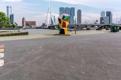 Erasmus Bridge, ha soprannominato il cigno fotografia stock