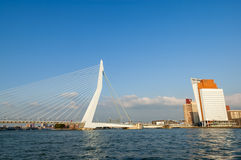Erasmus Bridge and KPN Tower in Rotterdam, Netherl Stock Photography