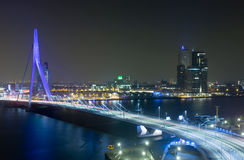 Erasmus Bridge by Night. The Rotterdam Skyline with the famous Erasmus Bridge over the river Meuze at night stock images