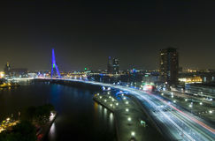 Erasmus Bridge by Night. The Rotterdam Skyline with the famous Erasmus Bridge over the river Meuze at night See more images that illustrate royalty free stock photo