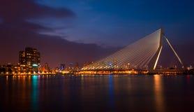 Erasmus Bridge at Night. Erasmus Bridge with the cityscape behind at night in Rotterdam, The Netherlands stock photos