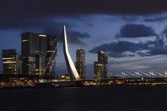 Rotterdam - Erasmus bridge by night Stock Photography