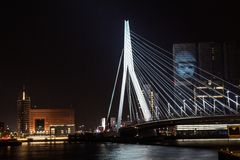 Erasmus bridge at night, Rotterdam Royalty Free Stock Photography