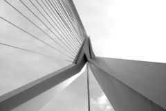 Erasmus Bridge. Photo looking up under the middle point of the Erasmus Bridge in Rotterdam royalty free stock photography