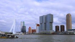 Erasmus Bridge in Rotterdam, Netherlands. Erasmus Bridge and `De Rotterdam`, Wilhelminakade, Rotterdam, Netherlands stock video