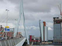 Erasmus Bridge. ROTTERDAM, NETHERLANDS - JULY 19, 2012: Heavy traffic on Erasmus Bridge Stock Photography