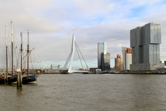 Erasmus bridge and The Rotterdam Stock Photos