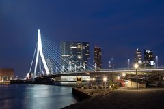Erasmus Bridge in Rotterdam at night Royalty Free Stock Images