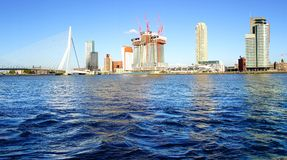Erasmus Bridge and Rotterdam port. Rotterdam Stock Photography