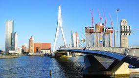 Erasmus Bridge and Rotterdam port. Rotterdam Stock Photos