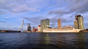 Erasmus Bridge with Rotterdam skyline. stock video footage