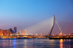 Erasmus Bridge in Rotterdam at Twilight Royalty Free Stock Image